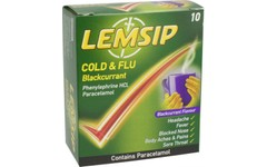 Lemsip Cold & Flu Blackcurrant Pack of 10