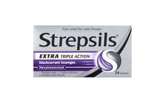 Strepsils Lozenges Extra Strength Blackcurrant Pack of 24