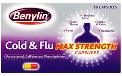 Benylin Cold & Flu Max Strength Capsules Pack of 16