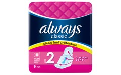 Always Classic Maxi Pads Size 2 Pack of 9