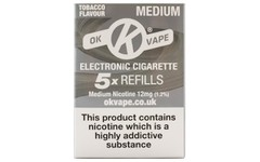 OK Vape Refills Medium Strength Tobacco Flavour Pack of 5