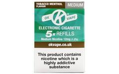 OK Vape Refills Medium Strength Tobacco Menthol Flavour Pack of 5